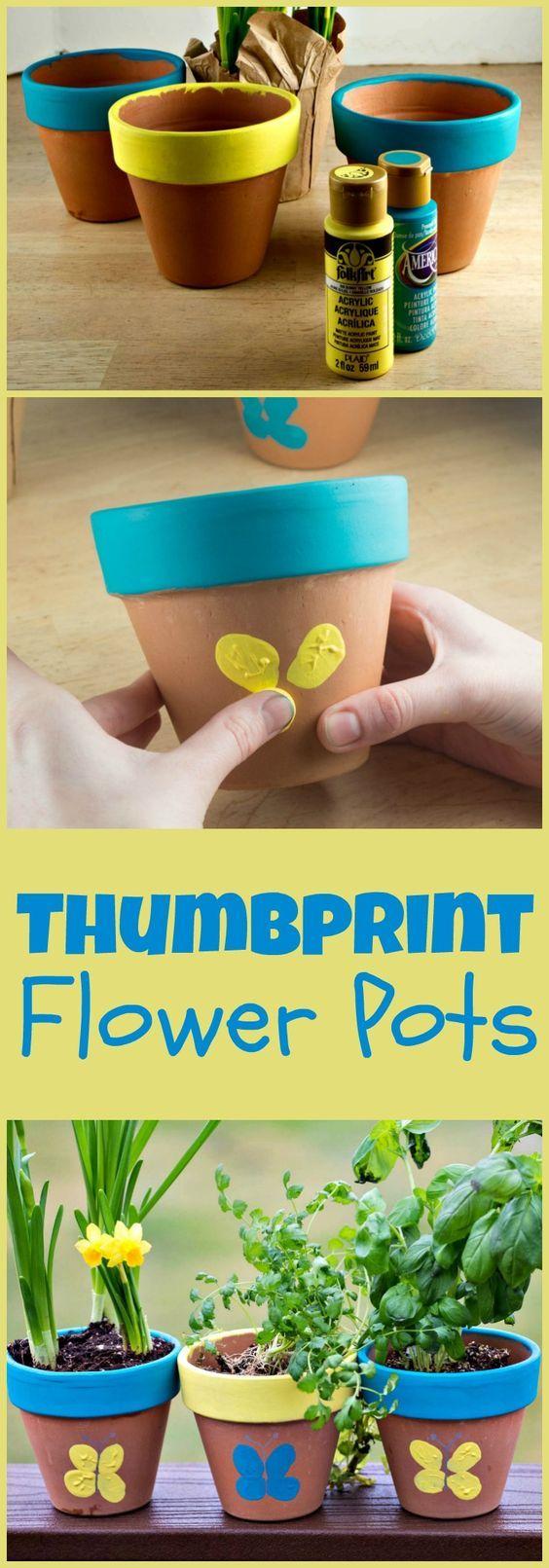 Thumbprint Flower Pots