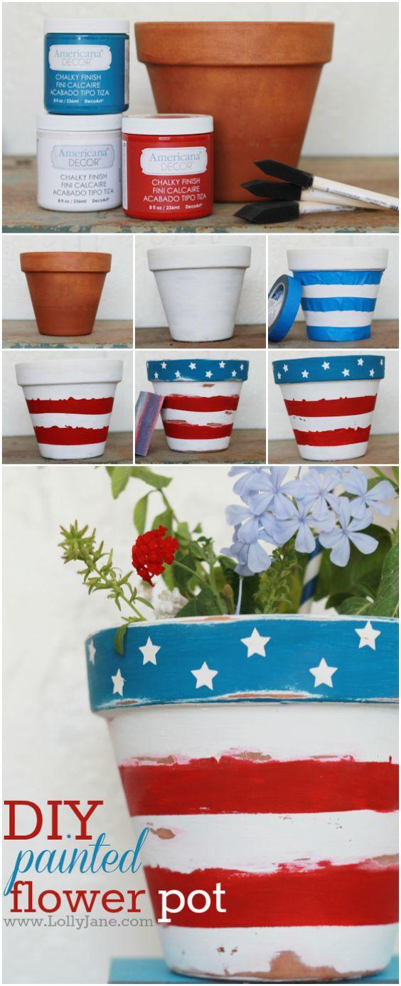 DIY Stars & Stripes Flower Pot