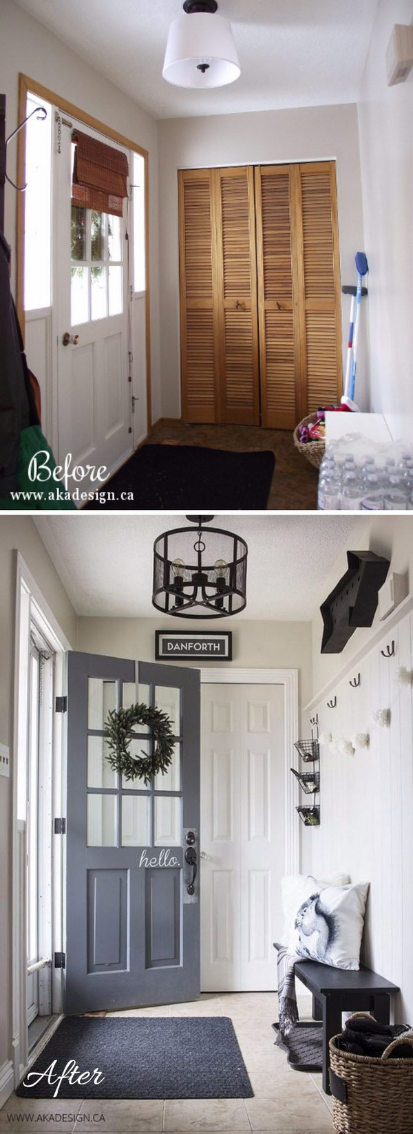 Awesome Black and White Entryway Makeover.