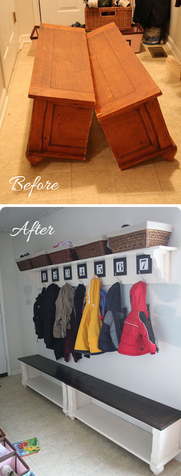 Mudroom Entryway Makeover with an Old Coffee Table Turned Bench.