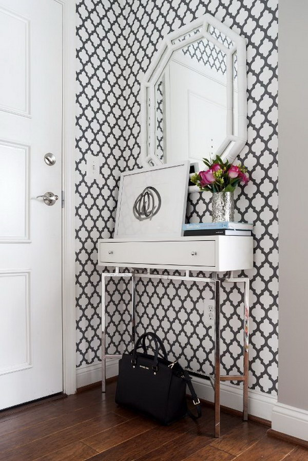 Adding Graphic Wallpaper Brings Dimension to a Small Entryway.