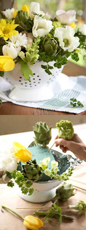DIY Colander Flower Arrangement