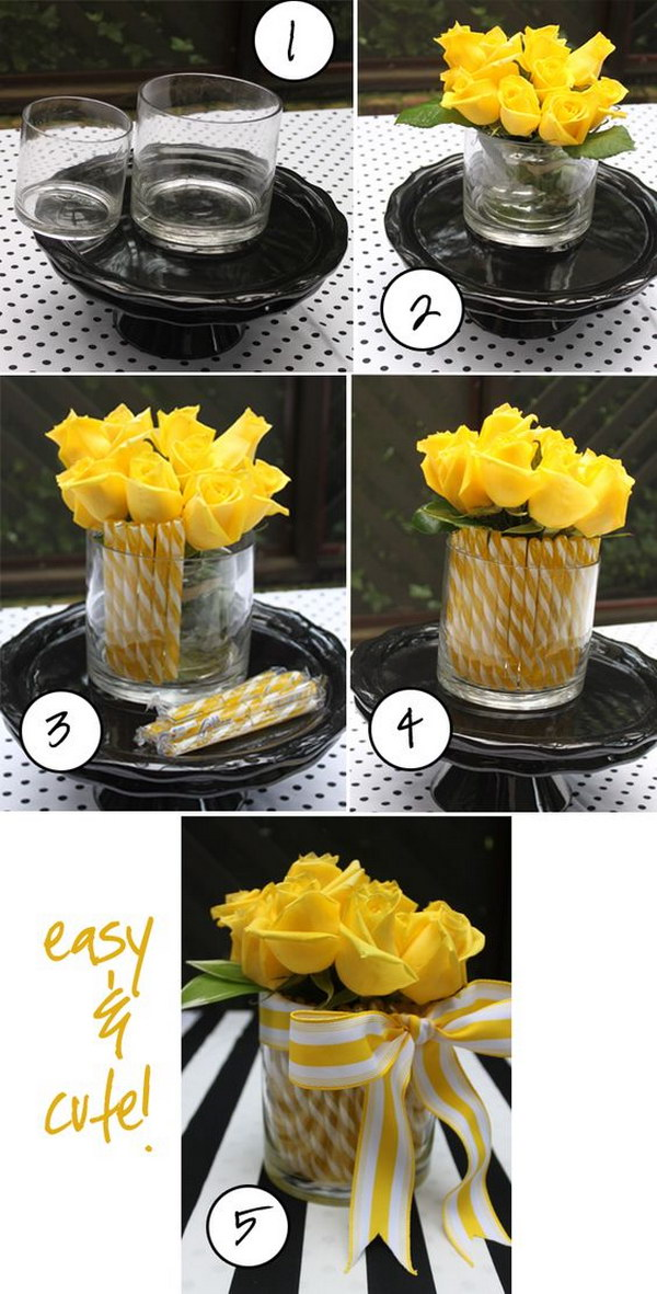 DIY Flower Arrangement With Candy Sticks
