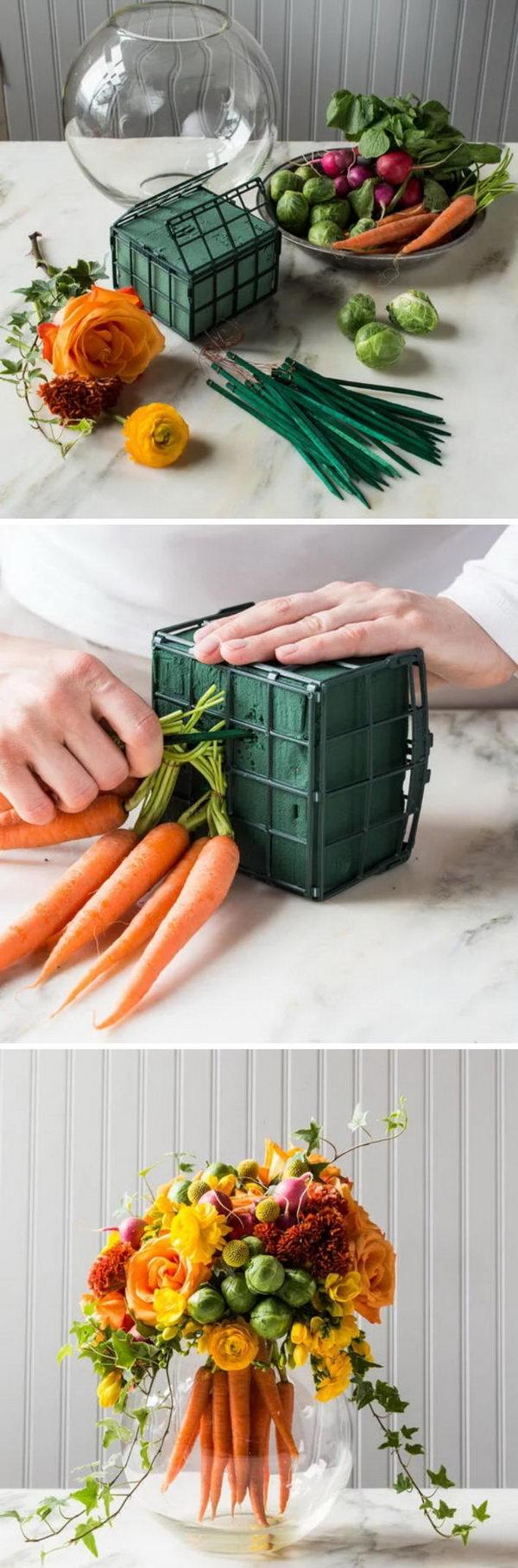 DIY Floral Arrangements With A Bouquet Of Bright Carrots