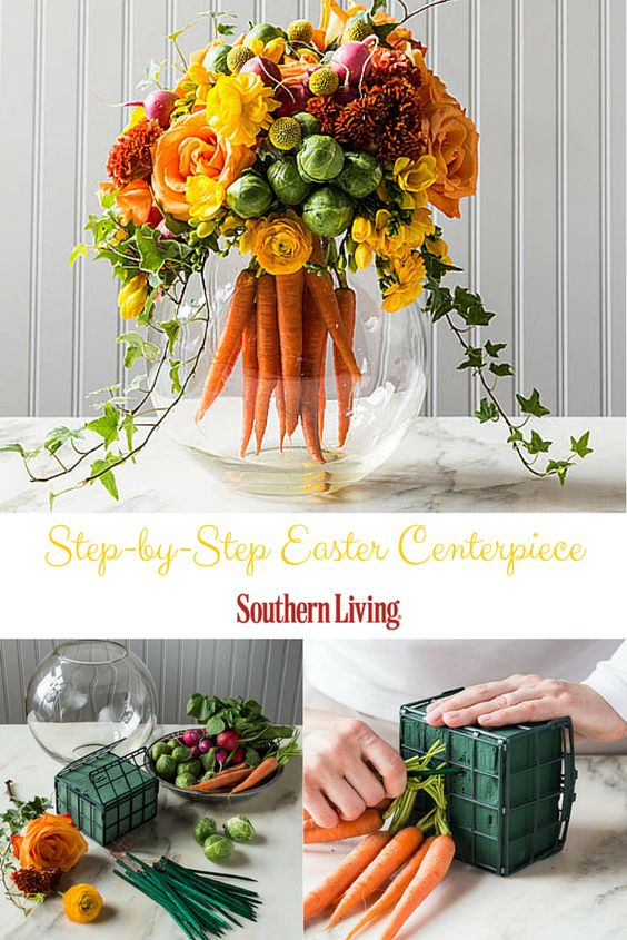 DIY Floral Arrangements With A Bouquet Of Bright Carrots
