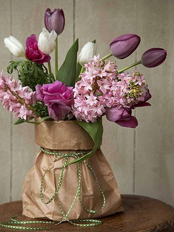 DIY Brown Bag Flower Arrangement