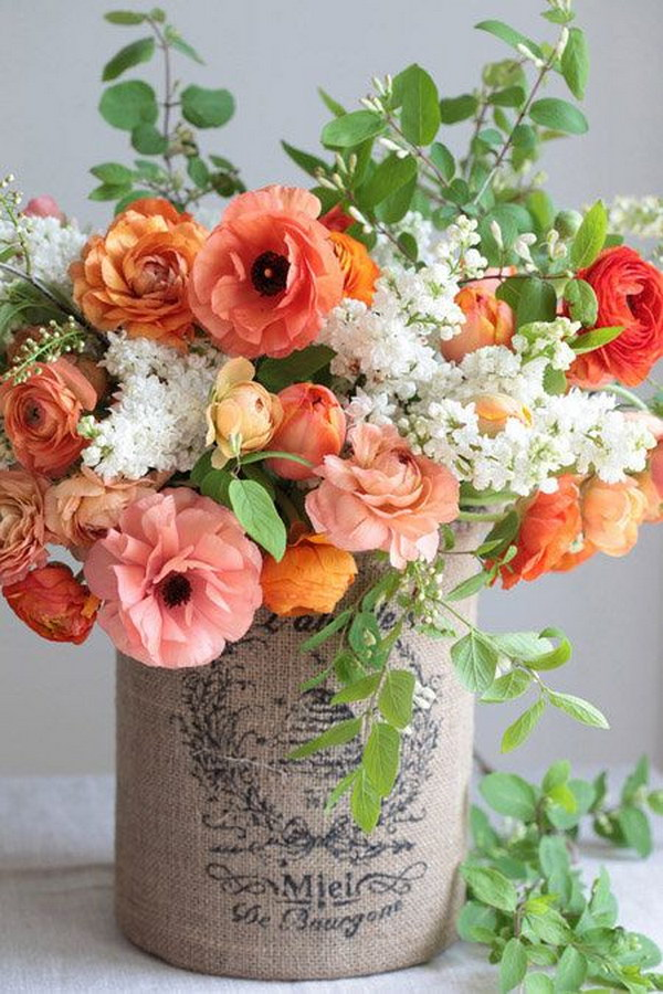 Beautiful flower arrangement ideas 2017 diy flower arrangement with vase made from tin can and burlap mightylinksfo