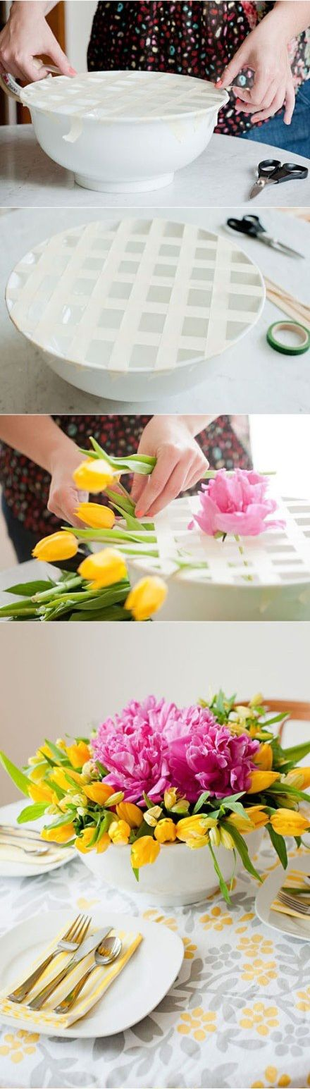 DIY Floral Arrangements With Wide Bowls