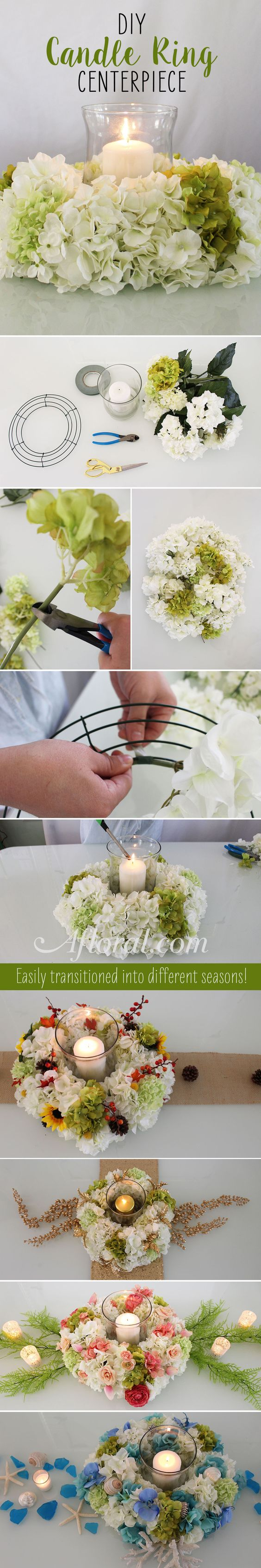 DIY Hydrangea Candle Ring Centerpiece