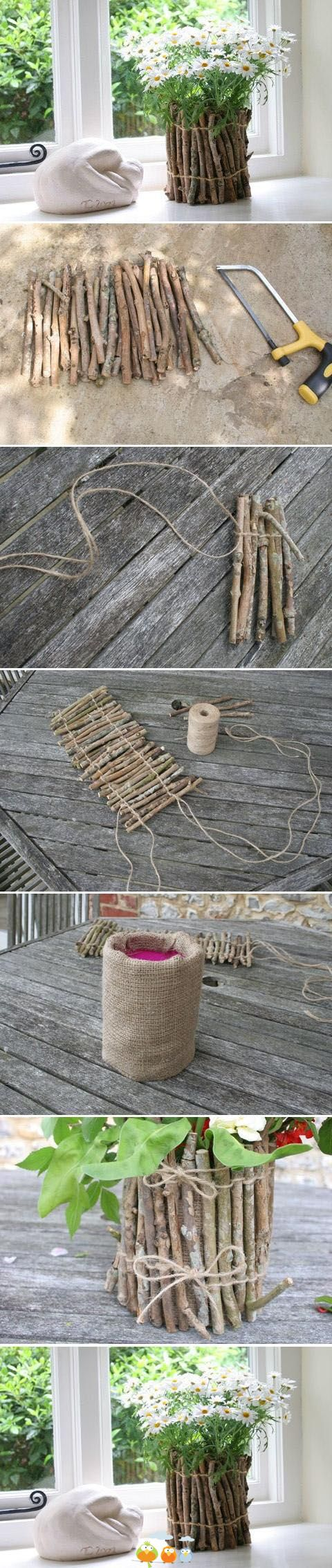 DIY Flower Arrangement In  Twig Flower Pot