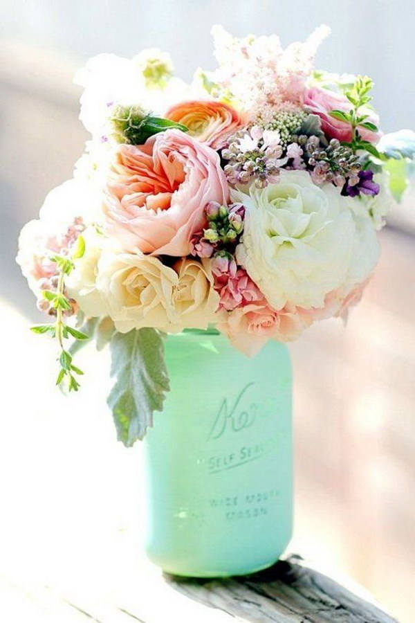 Minted Bottle And Romantic Pink Florals Flower Arrangement