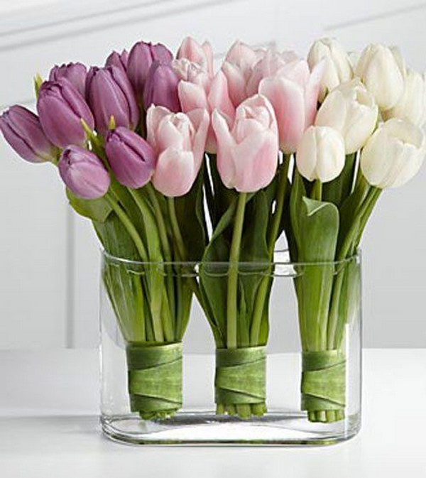 DIY Purple, Pink, And White Tulip Arrangement