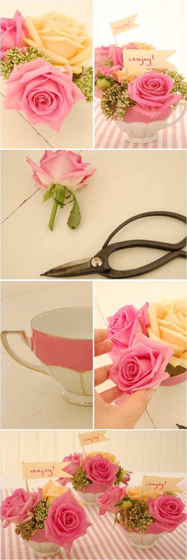DIY Tea Cup Flower Arrangements