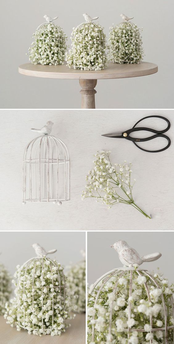Baby'S Breath In A Birdcage Flower Arrangement