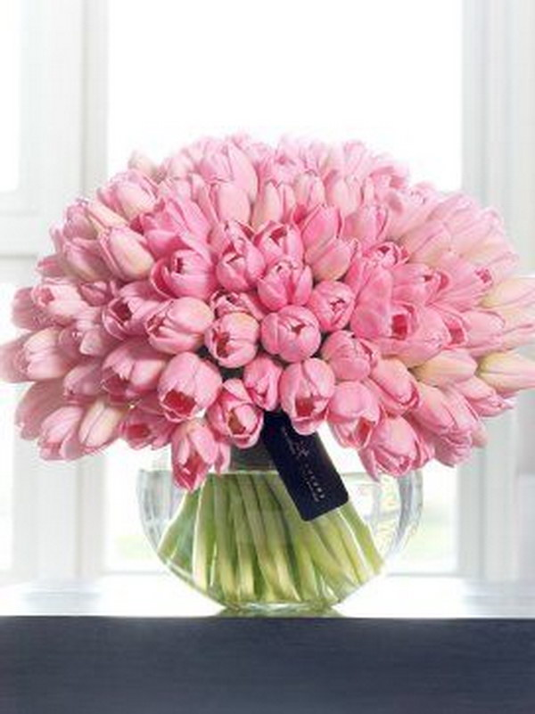 Beautiful Display Of  Pink Tulips In Vase