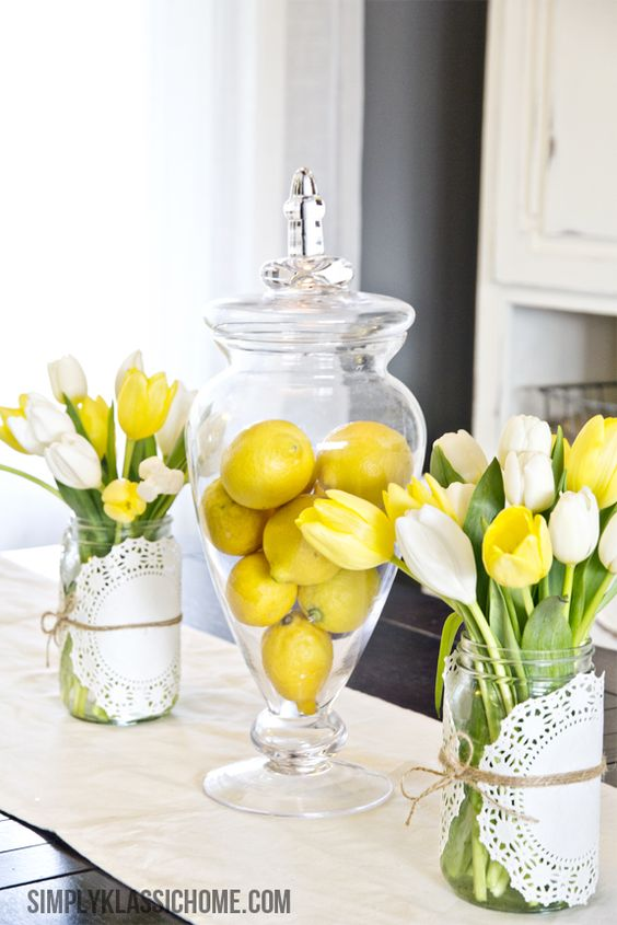 Beautiful flower arrangement ideas 2017 diy flower centerpiece with lemon and tulips mightylinksfo