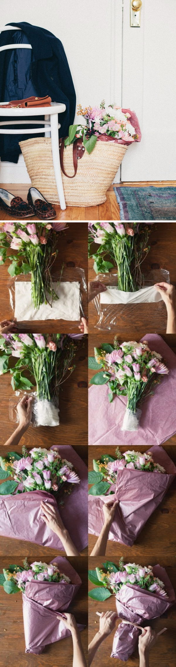 DIY Flower Arrangement In A Basket.