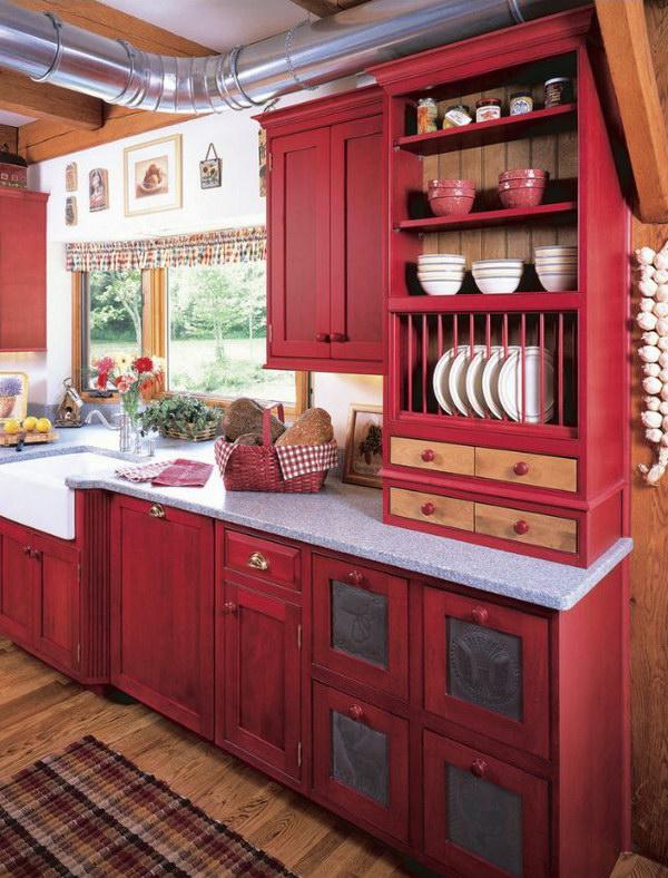 Red Kitchen Cabinet.