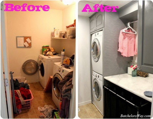 Stack The Washer And Dryer For Extra Space.