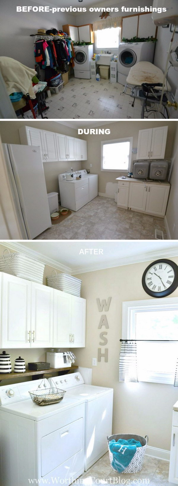 Laundry Room Reveal with farmhouse and Rustic Touches: From Messy to Orderly and Organized.
