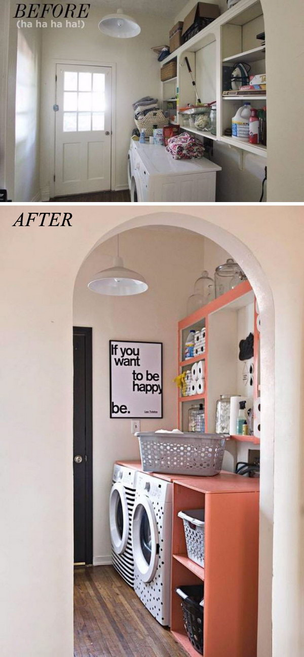 Laundry Room Makeover by Adding A Wrap around Shelving Unit.
