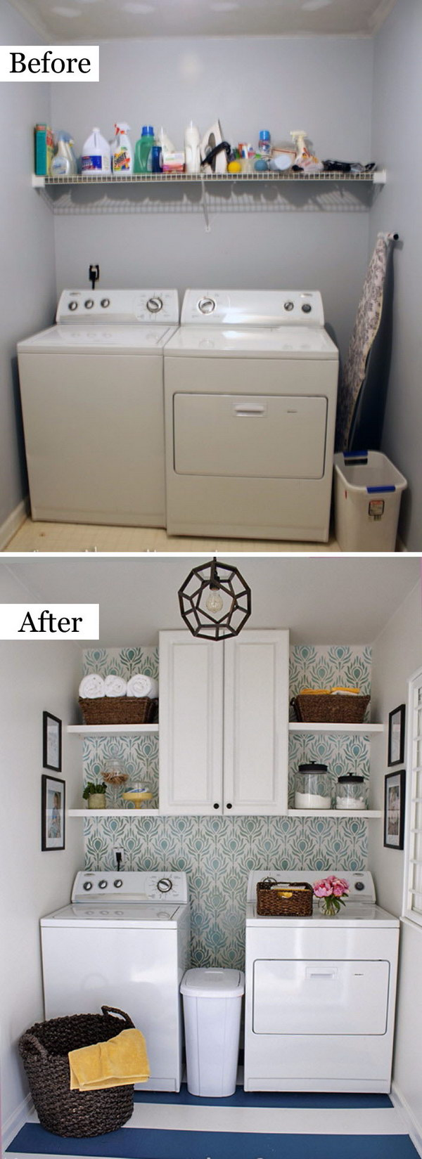 Laundry Room Makeover with Stenciling.