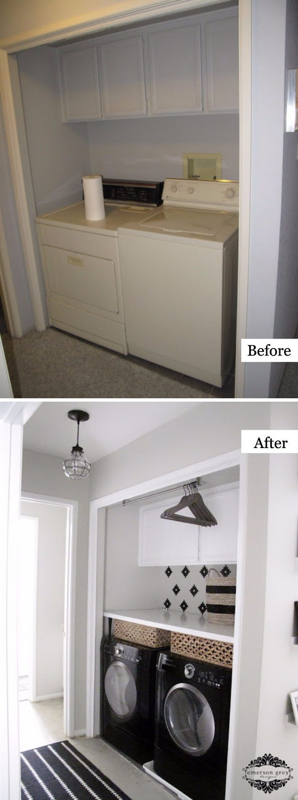Dual tone Laundry Nook Makeover.