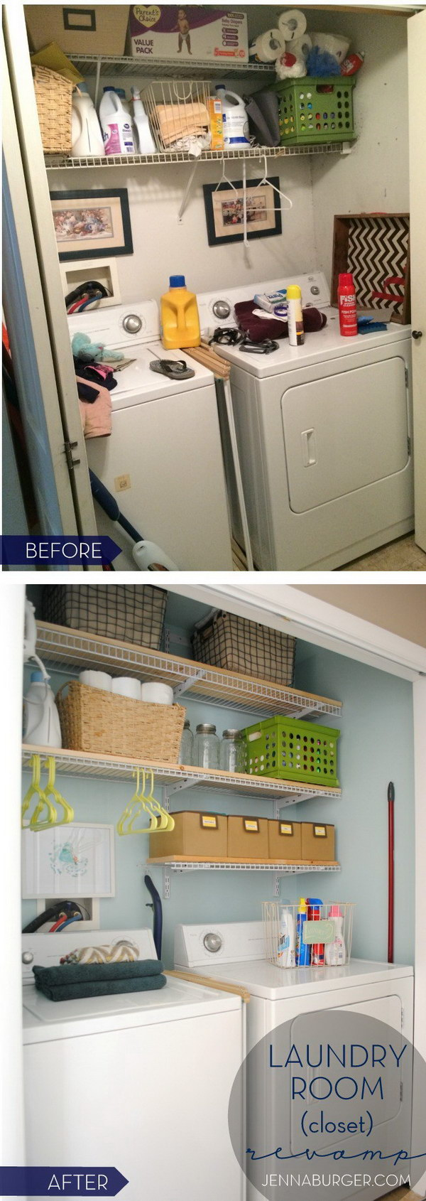 DIY Laundry Revamp with More Open Sheving Storage.
