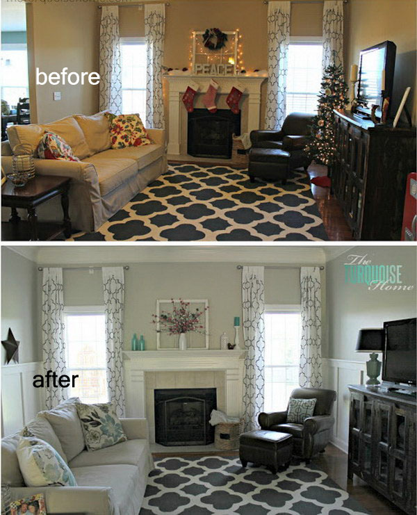 Living Room Makeover with Board and Batten Wainscoting.