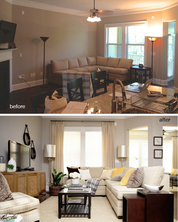 Before And After: Vinings Living Room.