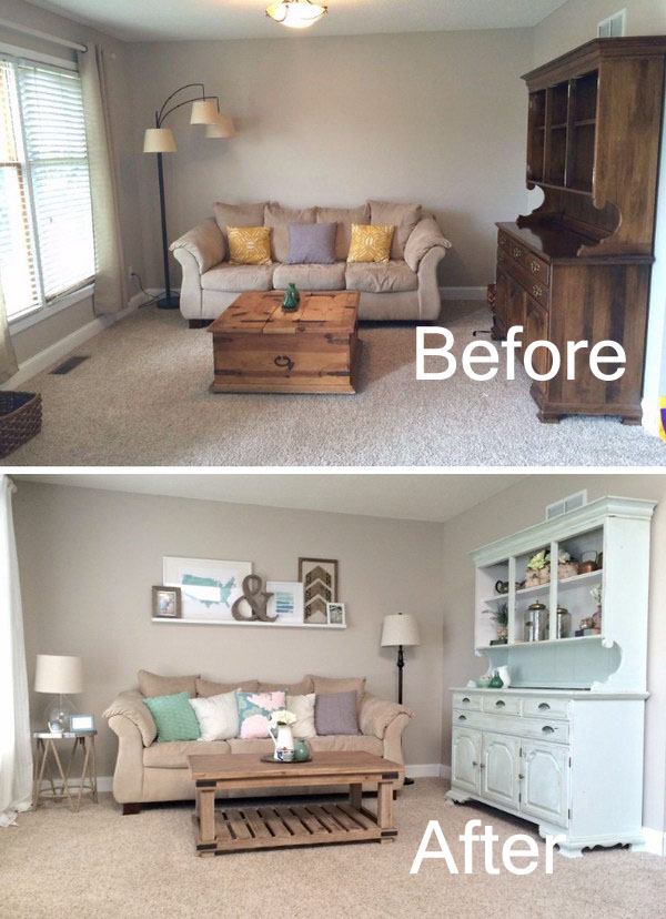 Living Room Renovation with Weathered Wood And Ledge Gallery Wall.