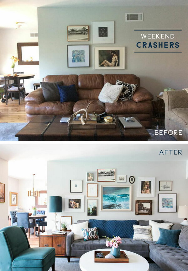 From Brown To Blue Living Room Makeover.