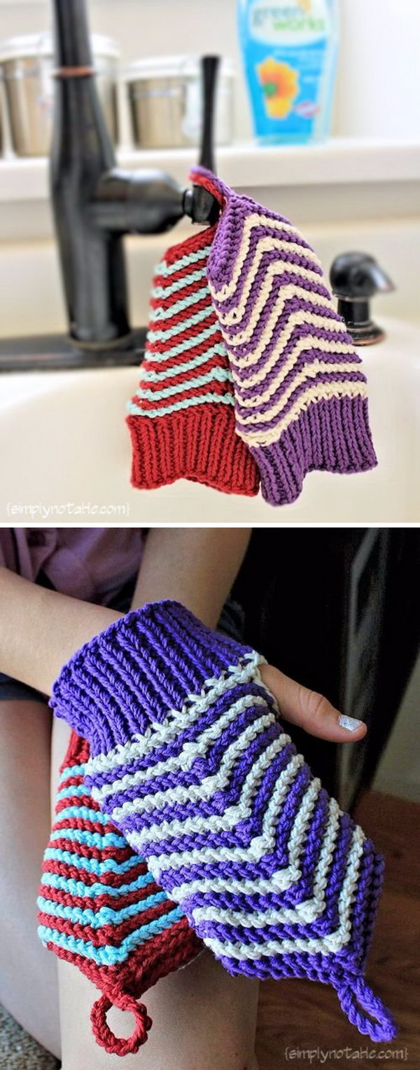 Chevron Scrubby Mitts.