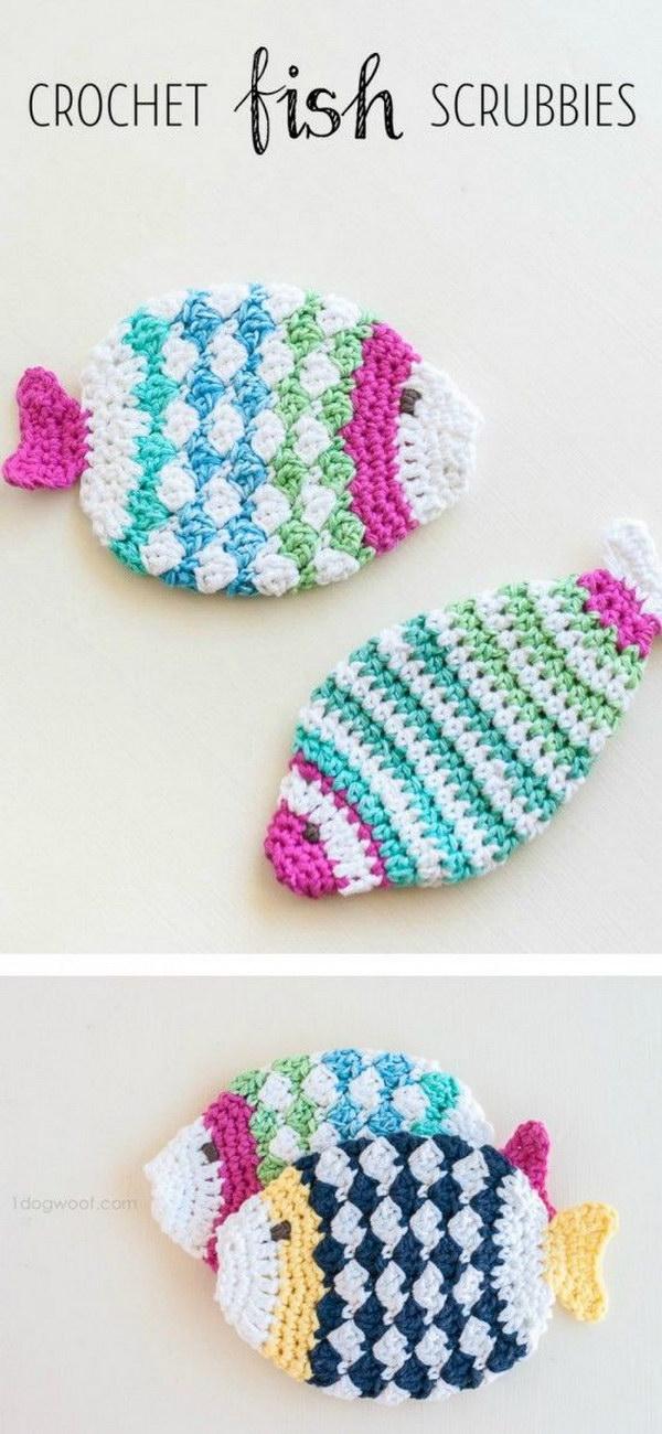 Crochet Fish Scrubbie Washcloths.