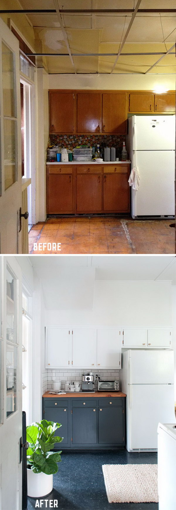 Paint the Outdated Cabinets Two Tone for a High Contrast Look.