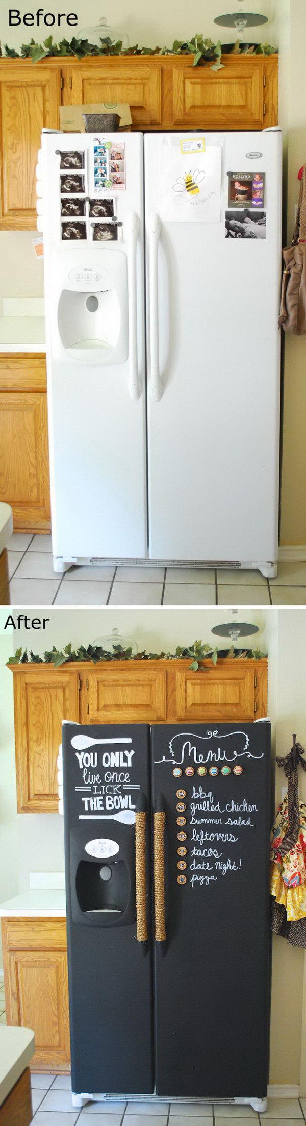 DIY Chalkboard Paint Refrigerator.