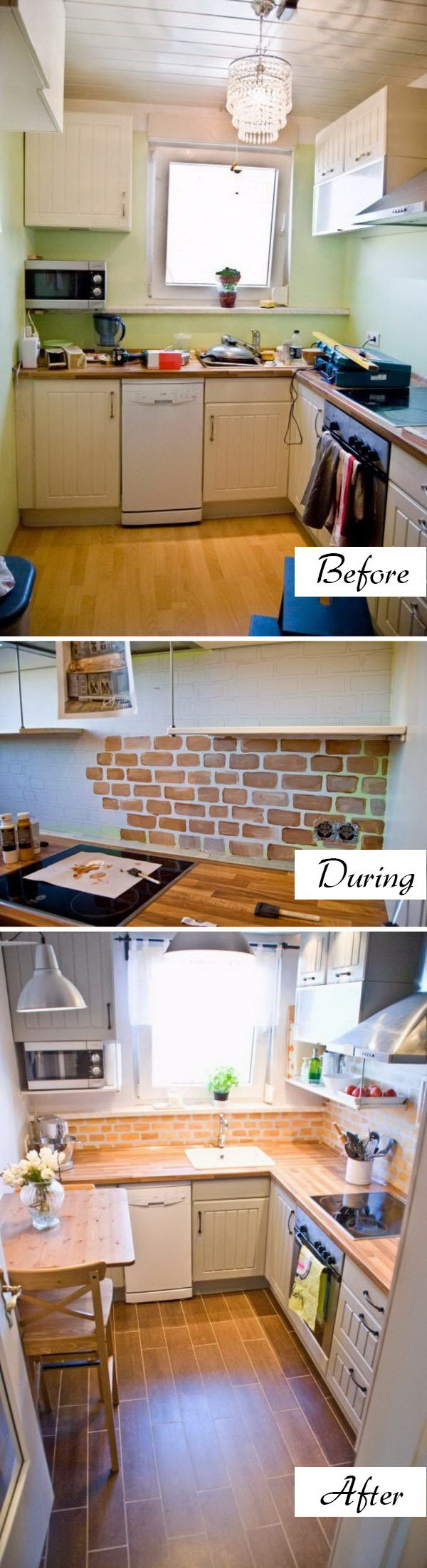 Change the Look and Save Money with Faux Painted Brick Backsplash.
