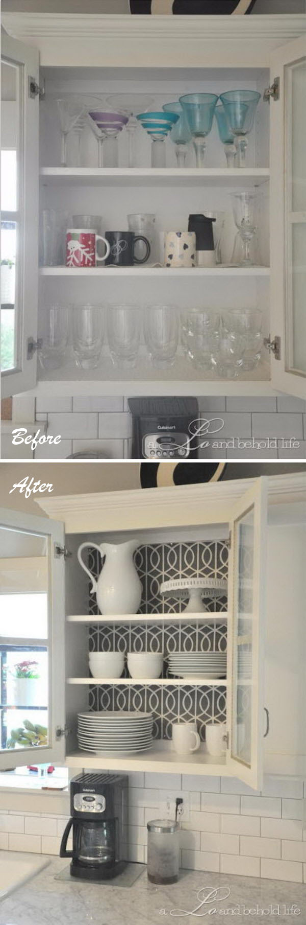 Make a Statement in Your Kitchen by Simply Replacing Backs of a Cabinet.