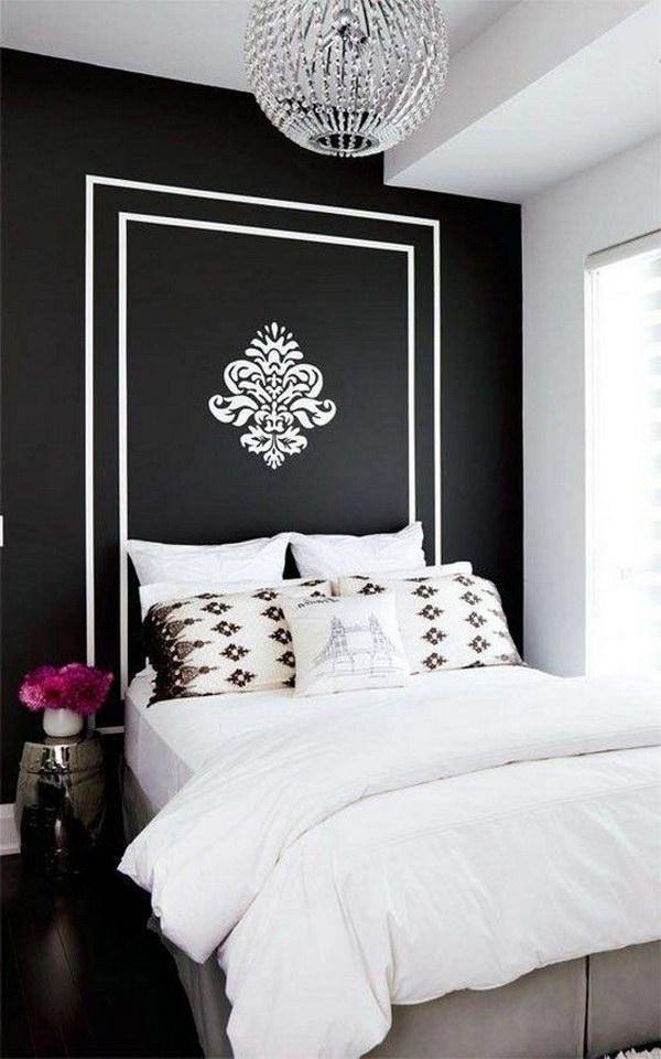 Black and white bedroom is in vogue; contrasting colors create impact and drama in the area.