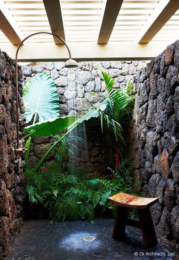 Tropical Outdoor Garden Shower.