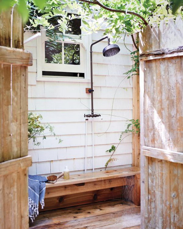 Vintage and Cozy Outdoor Shower with a Bench.