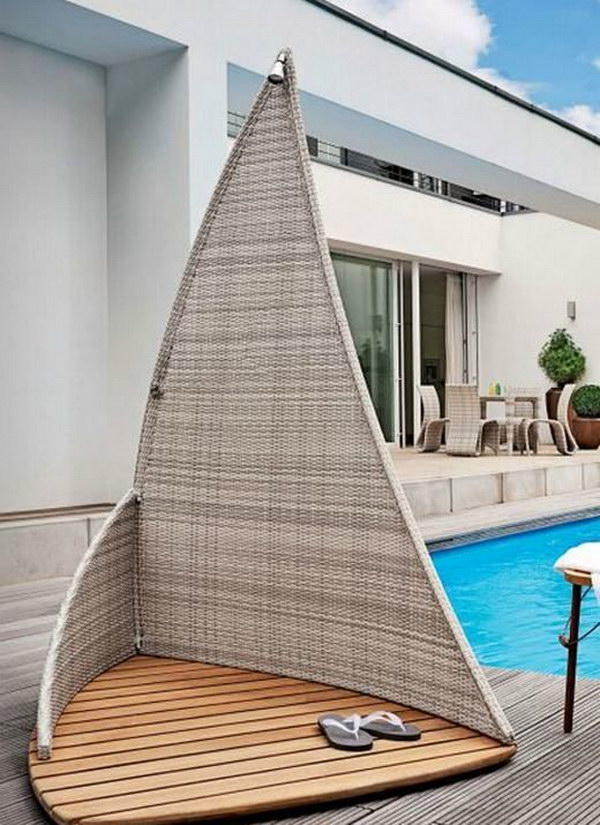 Outdoor Wicker Sailing Shower.