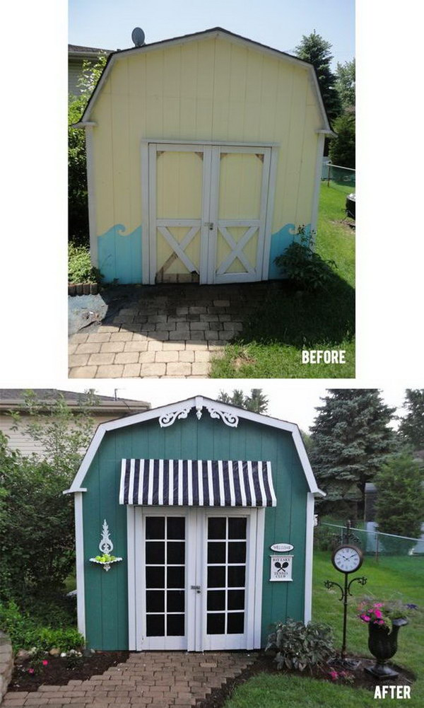 Classy Makeover of a Garden Shed.