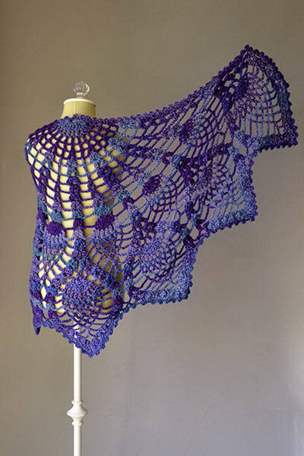 Pineapple Peacock Shawl .