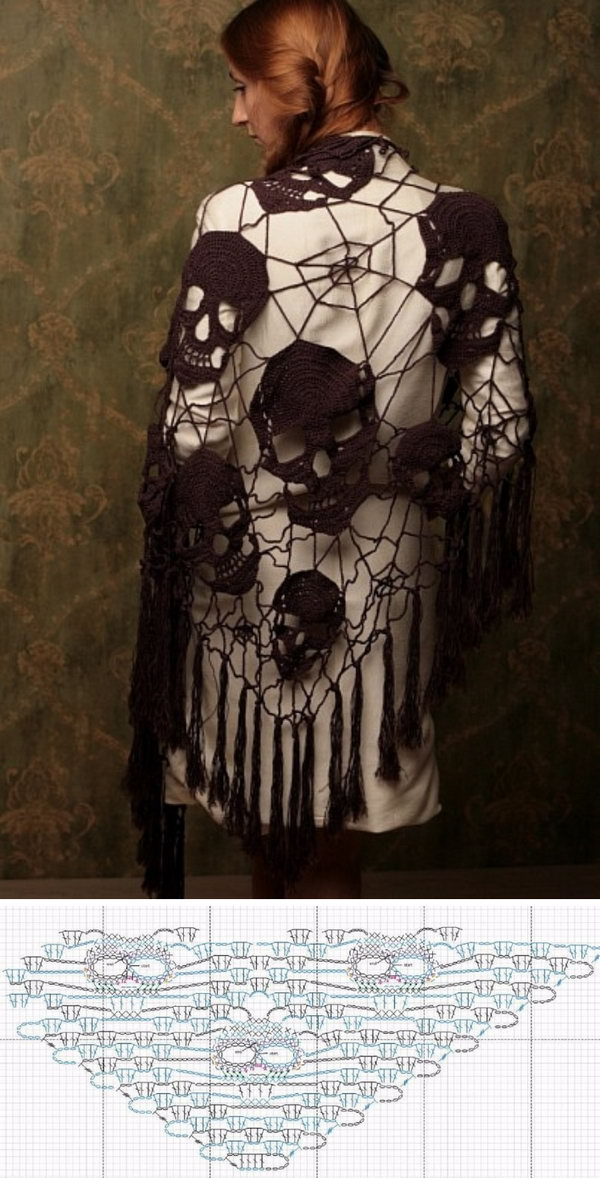 Crochet Shawl With Skull For Helloween.