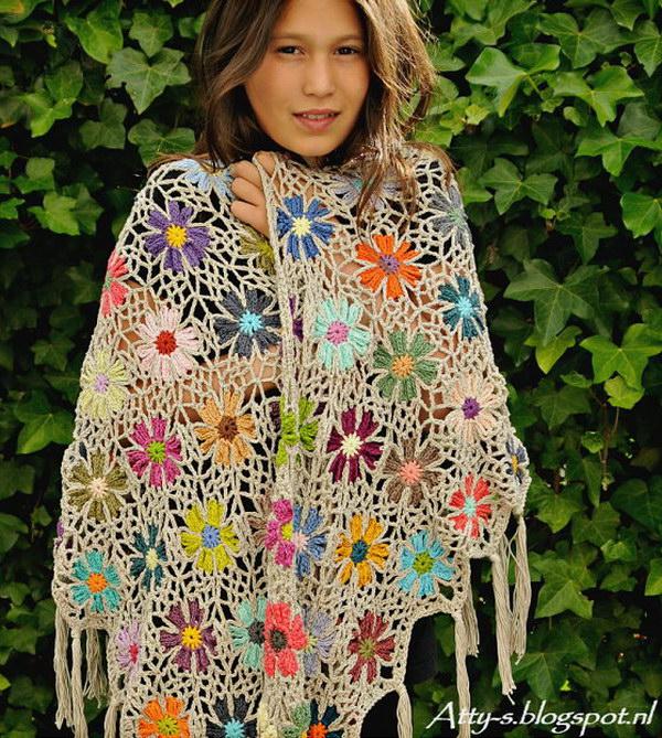 Crochet Flower Shawl.