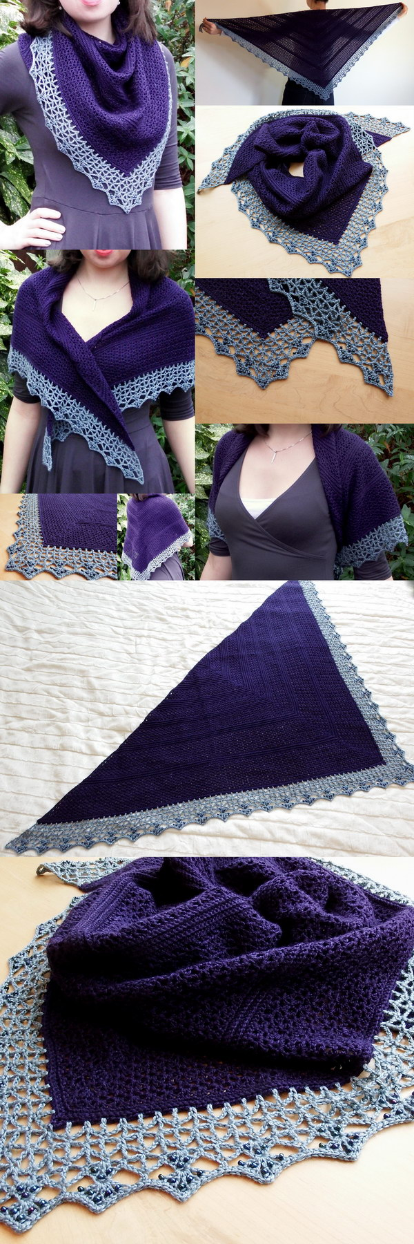Atlantic Lace Shawl With Beaded Edge.