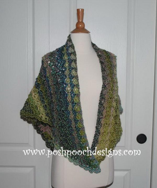 Watercolor Forest Shawl Crochet Pattern.