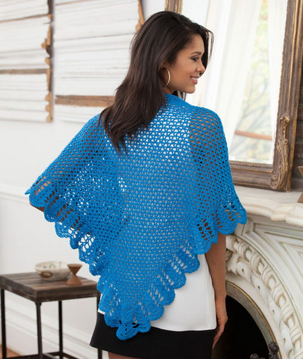 V Stitch & Scallop Crochet Shawl.