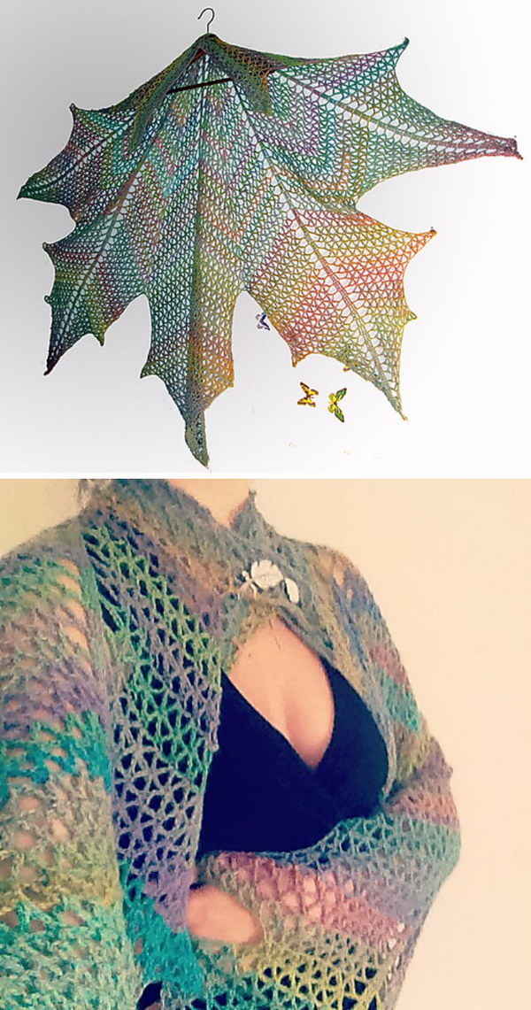 Maple Leaf Crochet Shawl.
